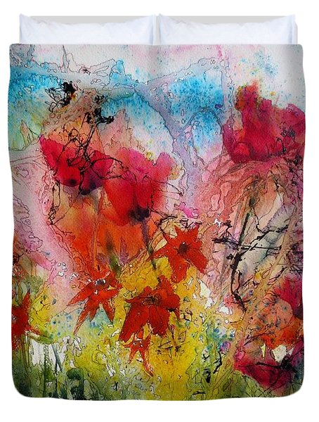 Duvet Cover featuring the painting Garden Tangle by Anne Duke
