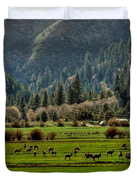 Garden Valley Elk Herd Duvet Cover