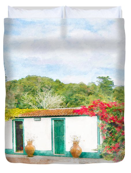 Garden Watercolor Painting Duvet Cover