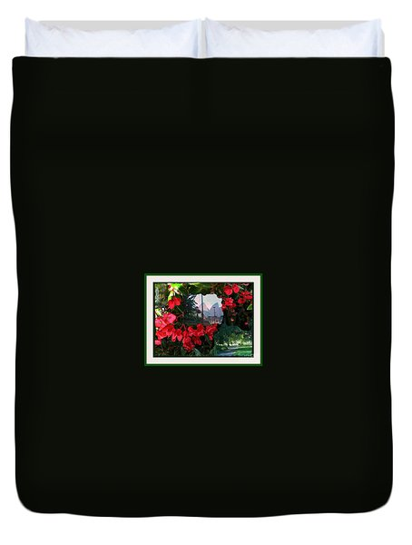 Duvet Cover featuring the photograph Garden Whispers In A Green Frame by Leanne Seymour
