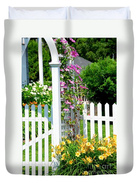 Garden With Picket Fence Duvet Cover