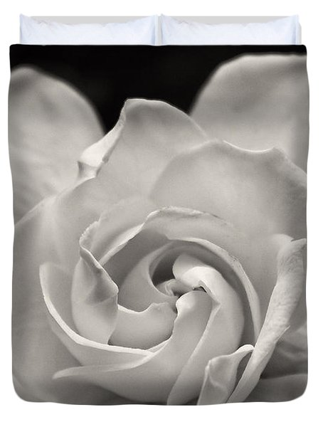 Gardenia Bloom In Sepia Duvet Cover