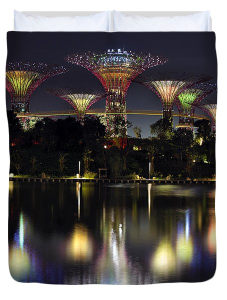 Gardens By The Bay Supertree Grove Duvet Cover by David Gn