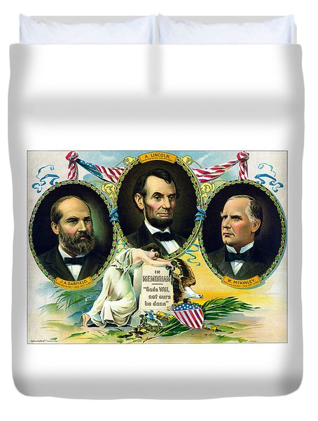 Garfield Lincoln And Mckinley In Memoriam Duvet Cover by War Is Hell Store