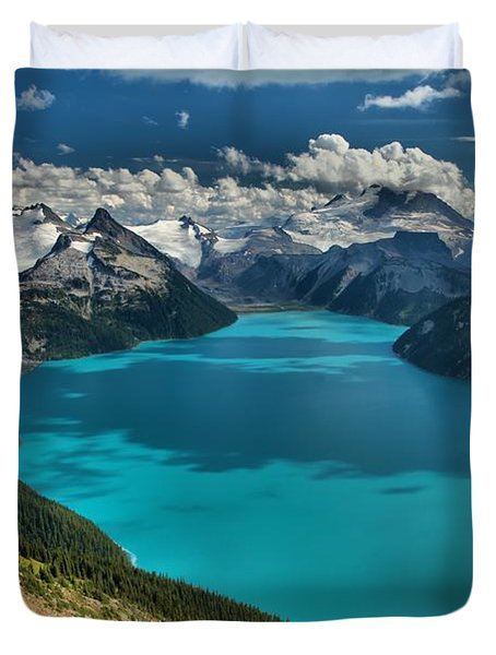 Garibaldi Lake Blues Greens And Mountains Duvet Cover by Adam Jewell