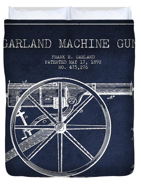 Garland Machine Gun Patent Drawing From 1892 - Navy Blue Duvet Cover