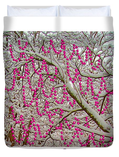 Garlands In The Snow Duvet Cover