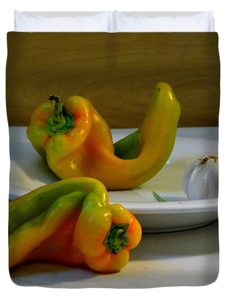 Garlic And Peppers Duvet Cover