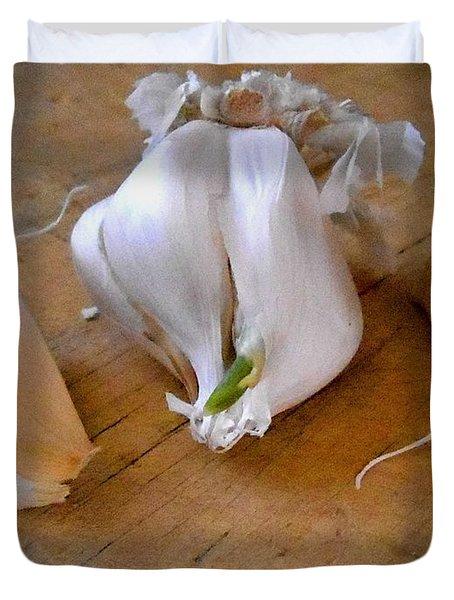 Duvet Cover featuring the digital art Garlic Green by Aliceann Carlton
