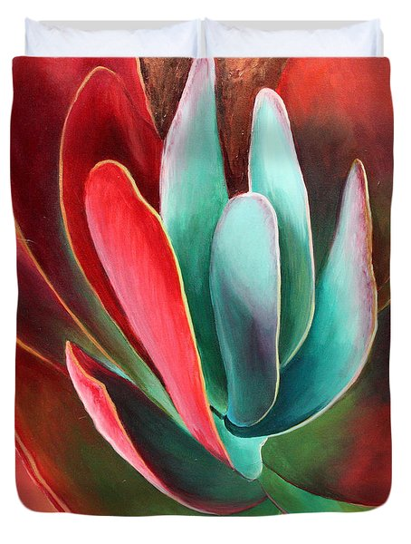 Duvet Cover featuring the painting Garnet Jewel by Sandi Whetzel