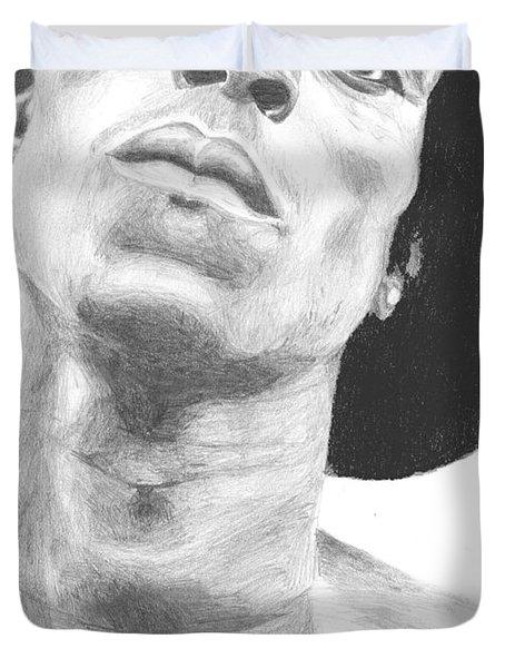 Duvet Cover featuring the drawing Garnett 3 by Tamir Barkan