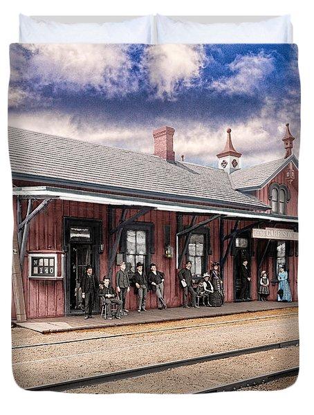 Garrison Train Station Colorized Duvet Cover