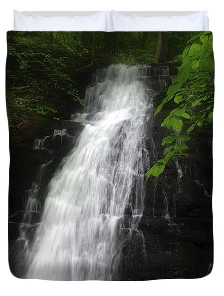 Duvet Cover featuring the photograph Garvey Spring Falls by Debra Fedchin