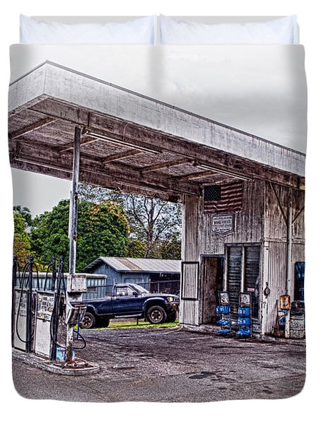 Duvet Cover featuring the photograph Gasoline Station by Jim Thompson