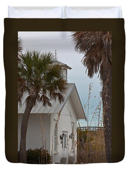 Duvet Cover featuring the photograph Gasparilla Island State Park Chapel by Ed Gleichman