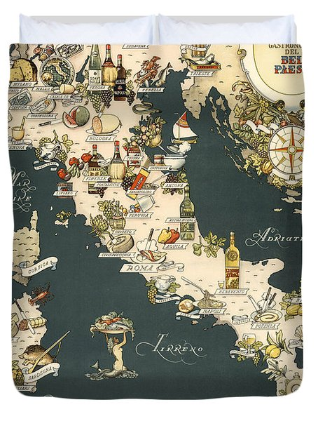 Gastronomic Map Of Italy 1949 Duvet Cover
