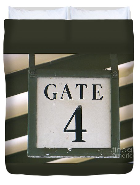 Duvet Cover featuring the photograph Gate #4 by Joy Hardee