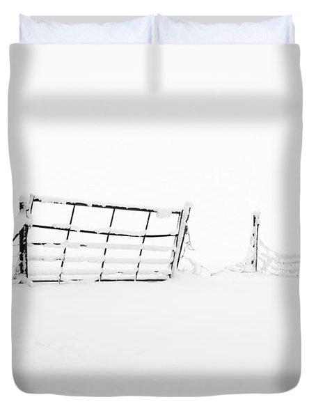 Gate In Snow Duvet Cover by Anne Gilbert