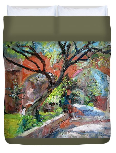 Duvet Cover featuring the painting Gate by Jiemin g Wang