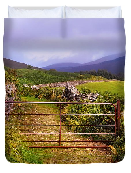 Gates On The Road. Wicklow Hills. Ireland Duvet Cover
