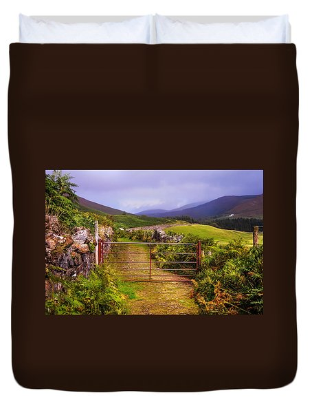 Gates On The Road. Wicklow Hills. Ireland Duvet Cover by Jenny Rainbow