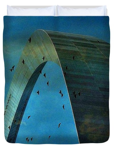 Gateway Arch With Birds Duvet Cover by Janette Boyd