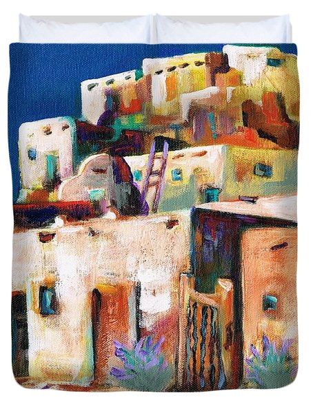 Gateway Into  The  Pueblo Duvet Cover by Frances Marino