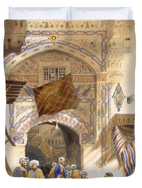 Gateway Of A Bazaar, Grand Cairo, Pub Duvet Cover by A. Margaretta Burr