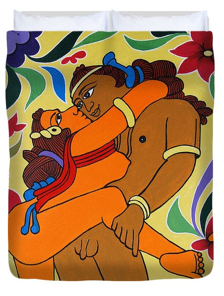 Duvet Cover featuring the painting Gateway Of  Haven by Ragunath Venkatraman