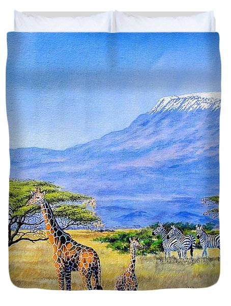 Gathering At Mount Kilimanjaro Duvet Cover