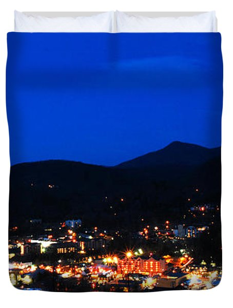 Gatlinburg Skyline At Night Duvet Cover by Nancy Mueller