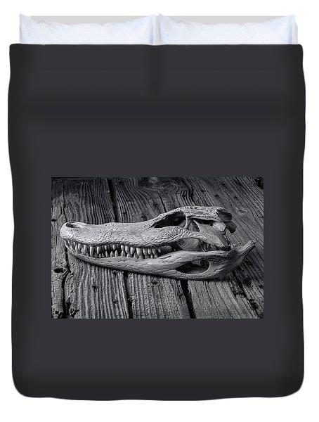 Gator Black And White Duvet Cover