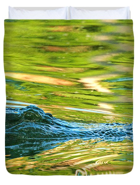 Gator In Pond Duvet Cover