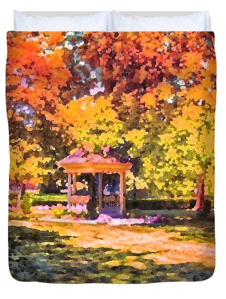 Gazebo On A Autumn Day Duvet Cover by Thomas Woolworth