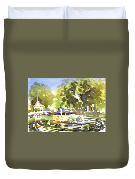 Gazebo With Pond And Fountain II Duvet Cover by Kip DeVore