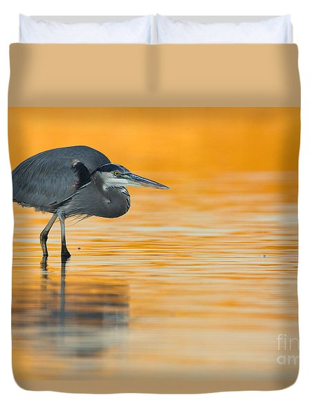 Duvet Cover featuring the photograph Gbh In Orange Water by Bryan Keil