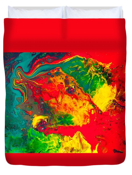 Gecko - Colorful Abstract Painting Duvet Cover by Modern Art Prints