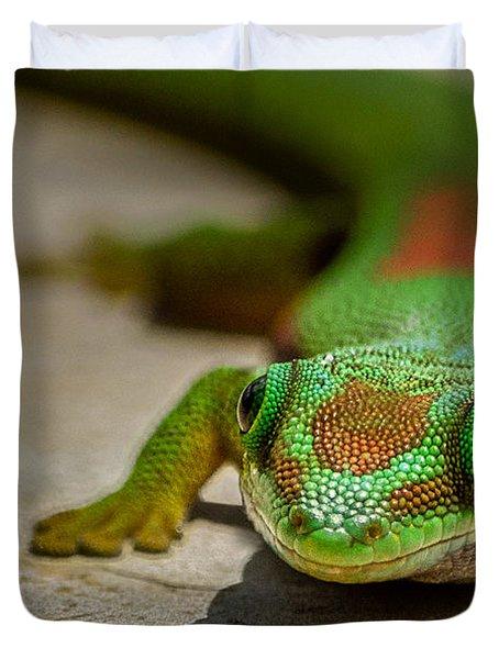 Gecko Portrait Duvet Cover