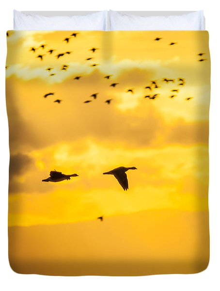 Geese At Sunset-2 Duvet Cover