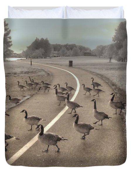 Geese Crossing Duvet Cover