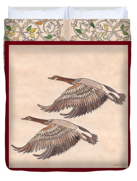 Duvet Cover featuring the drawing Geese by Dianne Levy