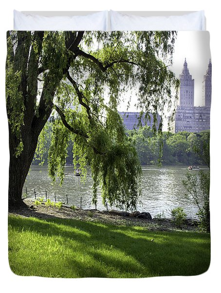 Geese In Central Park Nyc Duvet Cover