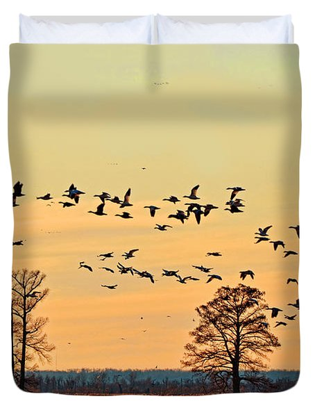 Geese In Flight I Duvet Cover by Debbie Portwood