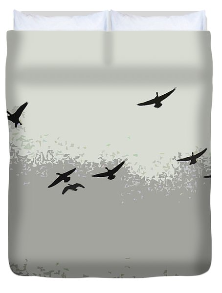 Duvet Cover featuring the photograph Geese In Sillouehette by Nina Silver