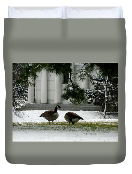 Duvet Cover featuring the photograph Geese In Snow by Kathy Barney