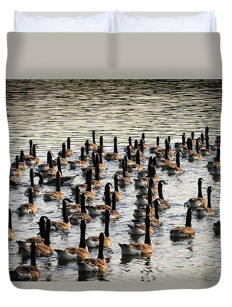 Geese In Sunset Light Duvet Cover