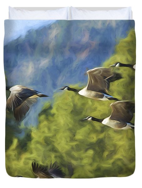 Geese On A Mission Duvet Cover