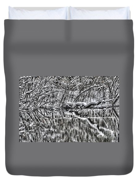 Geese On Pond Black And Wihite Duvet Cover by Dan Friend