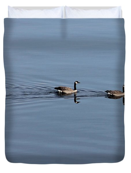 Geese Reflected Duvet Cover by Leone Lund