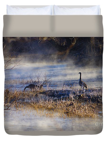 Geese Taking A Break Duvet Cover